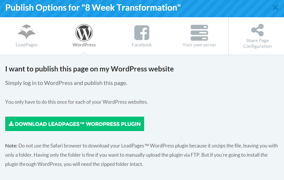 LeadPages Publish Options