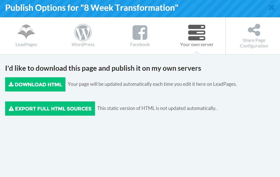 LeadPages Your Own Server