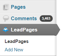 WordPress LeadPages Tab